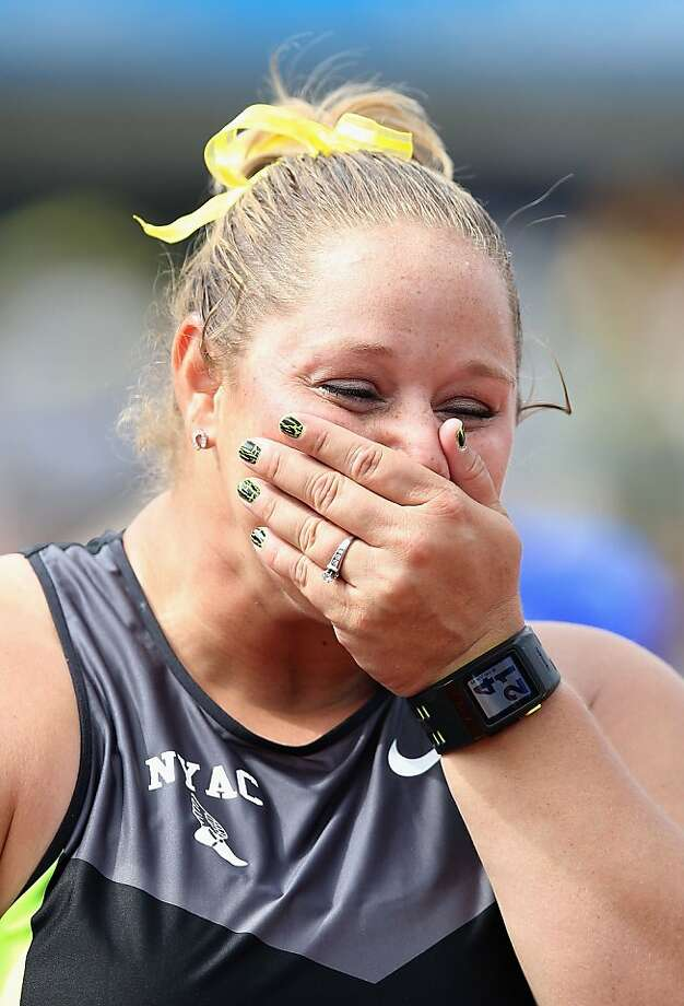 EUGENE, OR - JUNE 29:  Jillian Camarena-Williams reacts after winning the Women's Shot Put Final on day eight of the U.S. Olympic Track & Field Team Trials at the Hayward Field on June 29, 2012 in Eugene, Oregon.  (Photo by Christian Petersen/Getty Images) Photo: Christian Petersen, Getty Images