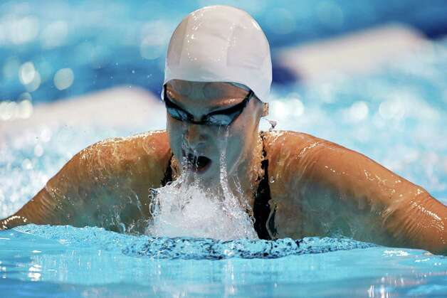 Caitlin Leverenz swims in the women's 200-meter breaststroke preliminaries at the U.S. Olympic swimming trials, Friday, June 29, 2012, in Omaha, Neb. (AP Photo/Mark Humphrey) Photo: Associated Press