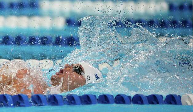 Tyler Clary swims in a men's 200-meter backstroke semifinal at the U.S. Olympic swimming trials, Friday, June 29, 2012, in Omaha, Neb. (AP Photo/Mark J. Terrill) Photo: Associated Press