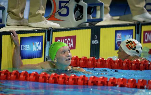 Allie Szekely reacts after swimming in the women's 200-meter breaststroke preliminaries at the U.S. Olympic swimming trials, Friday, June 29, 2012, in Omaha, Neb. (AP Photo/Mark J. Terrill) Photo: Associated Press
