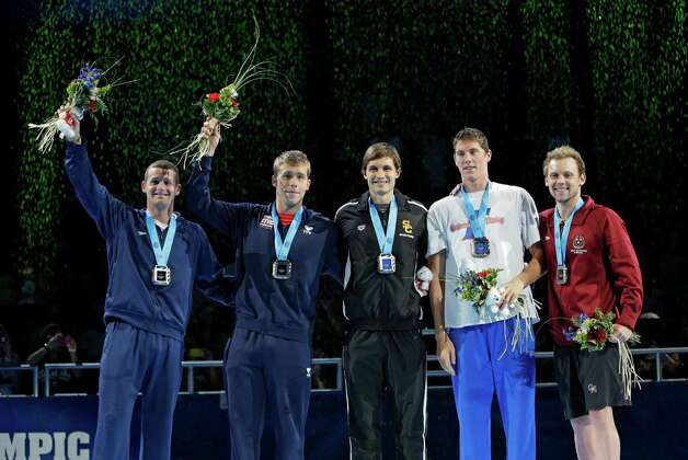 Tyler Clary, from left, Nick Thoman, Eric Shanteau, Conor Dwyer and Alex Meyer pose as they are qualified for the U.S Olympic team during the medal ceremony at the U.S. Olympic swimming trials on Friday, June 29, 2012, in Omaha, Neb. (AP Photo/Mark Humphrey) Photo: Associated Press