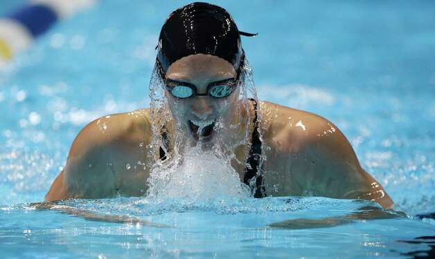 Breeja Larson swims in a women's 200-meter breaststroke semifinal at the U.S. Olympic swimming trials on Friday, June 29, 2012, in Omaha, Neb. (AP Photo/Mark Humphrey) Photo: Associated Press