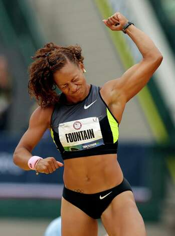 Heptathlete Hyleas Fountain celebrates making her height in the high jump at the U.S. Olympic Track and Field Trials Friday, June 29, 2012, in Eugene, Ore. (AP Photo/Marcio Jose Sanchez) Photo: Associated Press