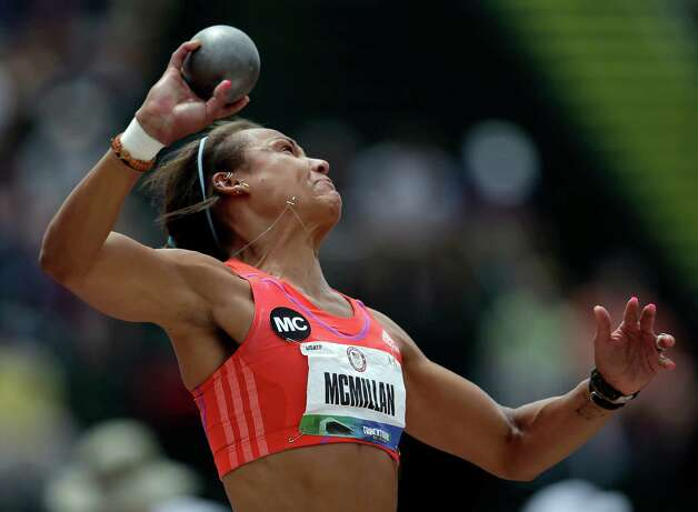 Heptathlete Chantae McMillan competes in the shot put at the U.S. Olympic Track and Field Trials Friday, June 29, 2012, in Eugene, Ore. (AP Photo/Matt Slocum) Photo: Associated Press