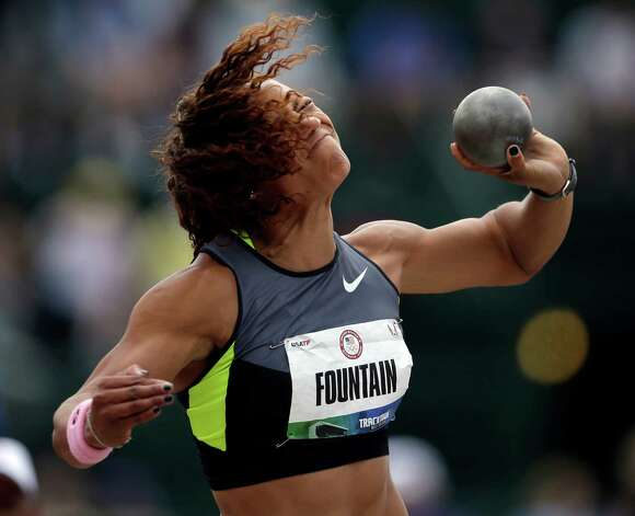 Heptathlete Hyleas Fountain competes in the shot put at the U.S. Olympic Track and Field Trials Friday, June 29, 2012, in Eugene, Ore. (AP Photo/Matt Slocum) Photo: Associated Press