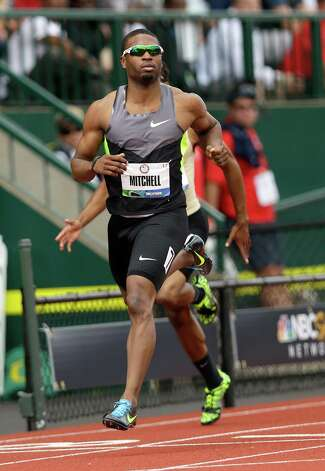 Manteo Mitchell competes in the qualifying round of the men's 200 meters at the U.S. Olympic Track and Field Trials Friday, June 29, 2012, in Eugene, Ore. (AP Photo/Marcio Jose Sanchez) Photo: Associated Press