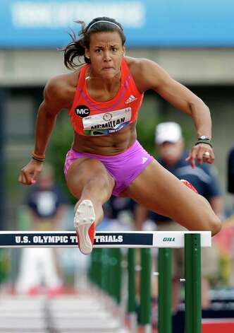 Heptathlete Chantae McMillan competes in the 100 meter hurdles at the U.S. Olympic Track and Field Trials Friday, June 29, 2012, in Eugene, Ore. (AP Photo/Eric Gay) Photo: Associated Press