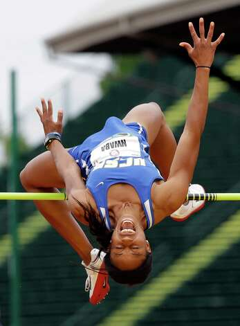 Heptathlete Barbara Nwaba competes in the high jump at the U.S. Olympic Track and Field Trials Friday, June 29, 2012, in Eugene, Ore. (AP Photo/Eric Gay) Photo: Associated Press