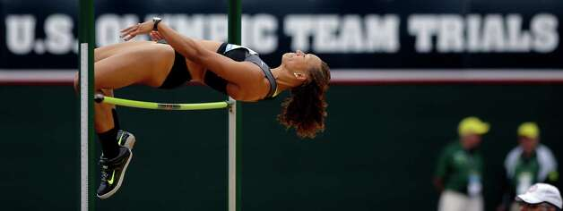 Heptathlete Hyleas Fountain competes in the high jump at the U.S. Olympic Track and Field Trials Friday, June 29, 2012, in Eugene, Ore. (AP Photo/Matt Slocum) Photo: Associated Press