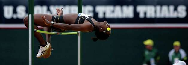 Heptathlete Sharon Day competes in the high jump at the U.S. Olympic Track and Field Trials Friday, June 29, 2012, in Eugene, Ore. (AP Photo/Matt Slocum) Photo: Associated Press