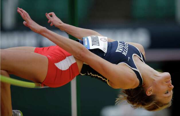 Heptathlete Lindsay Schwartz competes in the high jump at the U.S. Olympic Track and Field Trials Friday, June 29, 2012, in Eugene, Ore. (AP Photo/Matt Slocum) Photo: Associated Press