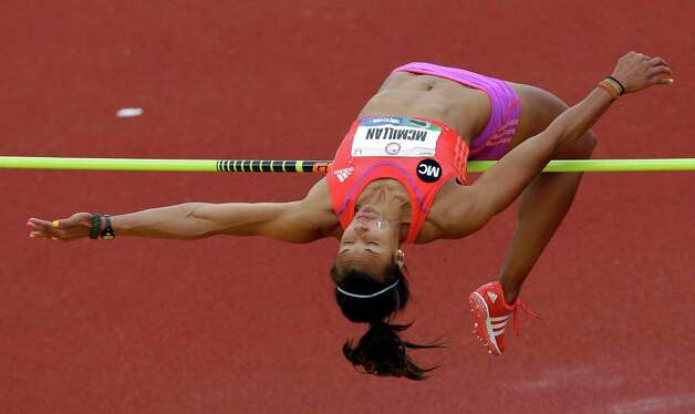 Heptathlete Chantae McMillan competes in the high jump at the U.S. Olympic Track and Field Trials Friday, June 29, 2012, in Eugene, Ore. (AP Photo/Marcio Jose Sanchez) Photo: Associated Press