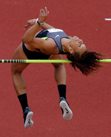 Heptathlete Hyleas Fountain competes in the high jump at the U.S. Olympic Track and Field Trials Friday, June 29, 2012, in Eugene, Ore. (AP Photo/Charlie Riedel) Photo: Associated Press