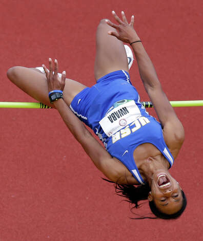 Heptathlete Barbara Nwaba competes in the high jump at the U.S. Olympic Track and Field Trials Friday, June 29, 2012, in Eugene, Ore. (AP Photo/Charlie Riedel) Photo: Associated Press