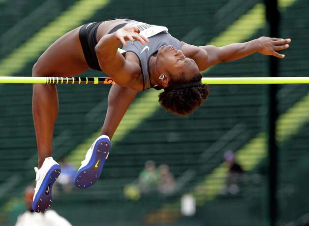 Heptathlete Bettie Wade competes in the high jump at the U.S. Olympic Track and Field Trials Friday, June 29, 2012, in Eugene, Ore. (AP Photo/Eric Gay) Photo: Associated Press