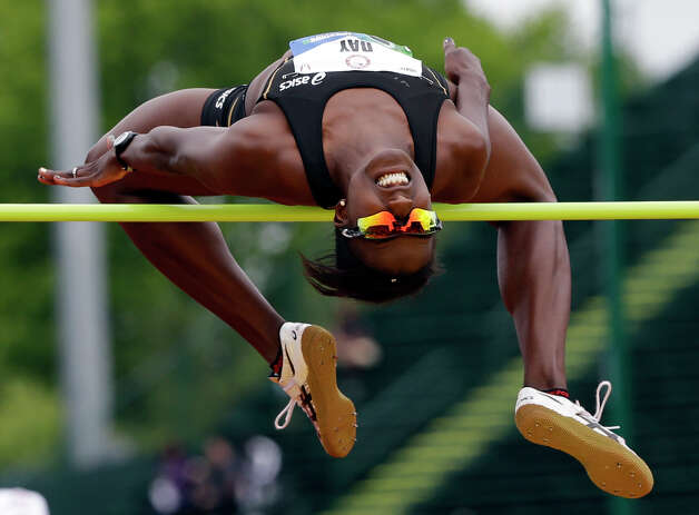 Heptathlete Sharon Day competes in the high jump at the U.S. Olympic Track and Field Trials Friday, June 29, 2012, in Eugene, Ore. (AP Photo/Eric Gay) Photo: Associated Press