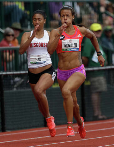 Heptathletes Jessica Flax and Chantae McMillan compete in the 200 meters at the U.S. Olympic Track and Field Trials Friday, June 29, 2012, in Eugene, Ore. (AP Photo/Marcio Jose Sanchez) Photo: Associated Press