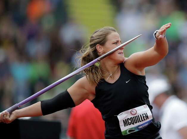Karlee McQuillen competes in the women's javelin qualifying round at the U.S. Olympic Track and Field Trials Friday, June 29, 2012, in Eugene, Ore. (AP Photo/Matt Slocum) Photo: Associated Press
