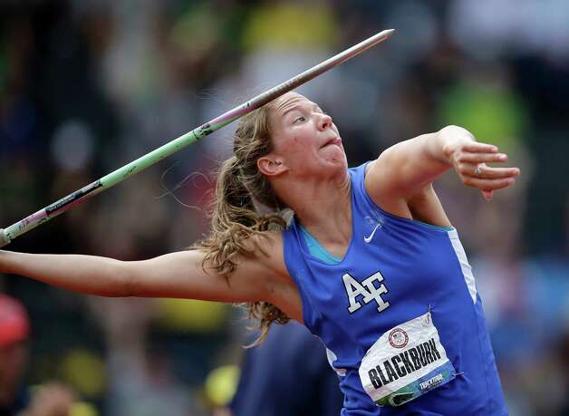 Paige Blackburn competes in the women's javelin qualifying round at the U.S. Olympic Track and Field Trials Friday, June 29, 2012, in Eugene, Ore. (AP Photo/Matt Slocum) Photo: Associated Press