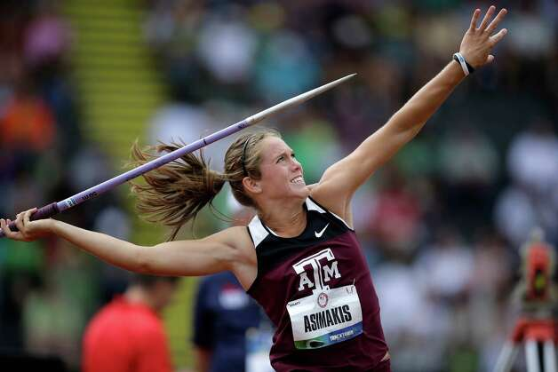 Laura Asimakis competes in the women's javelin qualifying round at the U.S. Olympic Track and Field Trials Friday, June 29, 2012, in Eugene, Ore. (AP Photo/Matt Slocum) Photo: Associated Press