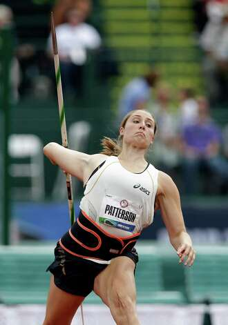 Kara Patterson competes in the women's javelin qualifying round at the U.S. Olympic Track and Field Trials Friday, June 29, 2012, in Eugene, Ore. (AP Photo/Charlie Riedel) Photo: Associated Press
