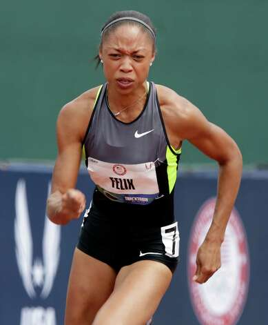 Allyson Felix starts her heat in the women's 200 meter semi-finals at the U.S. Olympic Track and Field Trials Friday, June 29, 2012, in Eugene, Ore. (AP Photo/Charlie Riedel) Photo: Associated Press