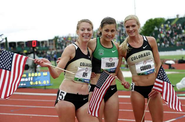 Shalaya Kipp, left, Bridget Franek, center, and Emma Coburn celebrate advancing to the Olympics after finishing the women's 3000 meter steeplechase at the U.S. Olympic Track and Field Trials Friday, June 29, 2012, in Eugene, Ore. (AP Photo/Eric Gay) Photo: Associated Press
