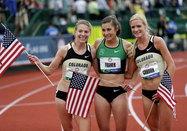 Shalaya Kipp, left, Bridget Franek, center, and Emma Coburn celebrate advancing to the Olympics after finishing the women's 3000 meter steeplechase at the U.S. Olympic Track and Field Trials Friday, June 29, 2012, in Eugene, Ore. (AP Photo/Marcio Jose Sanchez) Photo: Associated Press