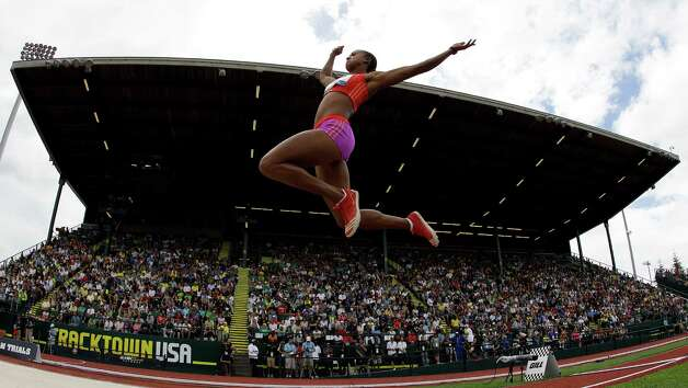 Tori Polk competes in the women's long jump qualifying round at the U.S. Olympic Track and Field Trials Friday, June 29, 2012, in Eugene, Ore. (AP Photo/Matt Slocum) Photo: Associated Press