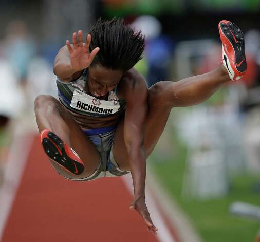 Rose Richmond competes in the women's long jump qualifying roundat the U.S. Olympic Track and Field Trials Friday, June 29, 2012, in Eugene, Ore. (AP Photo/Matt Slocum) Photo: Associated Press