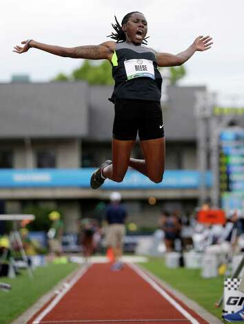Brittney Reese competes in the women's long jump qualifying round at the U.S. Olympic Track and Field Trials Friday, June 29, 2012, in Eugene, Ore. (AP Photo/Matt Slocum) Photo: Associated Press