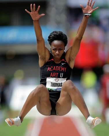 Vashti Thomas competes in the women's long jump qualifying round at the U.S. Olympic Track and Field Trials Friday, June 29, 2012, in Eugene, Ore. (AP Photo/Matt Slocum) Photo: Associated Press