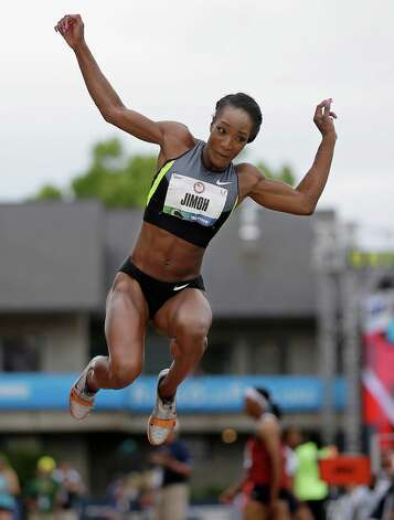 Funmi Jimoh competes in the women's long jump qualifying round at the U.S. Olympic Track and Field Trials Friday, June 29, 2012, in Eugene, Ore. (AP Photo/Matt Slocum) Photo: Associated Press