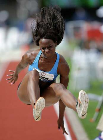 Amber Bledsoe competes in the women's long jump qualifying round at the U.S. Olympic Track and Field Trials Friday, June 29, 2012, in Eugene, Ore. (AP Photo/Matt Slocum) Photo: Associated Press
