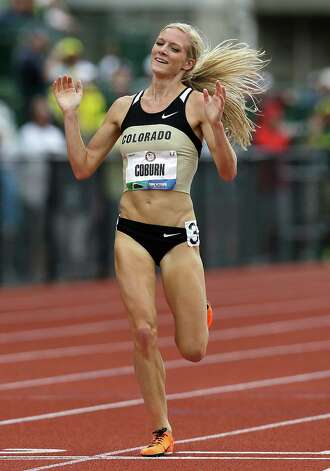 Emma Coburn celebrates advancing to the Olympics after finishing the women's 3000 meter steeplechase at the U.S. Olympic Track and Field Trials Friday, June 29, 2012, in Eugene, Ore.(AP Photo/Marcio Jose Sanchez) Photo: Associated Press
