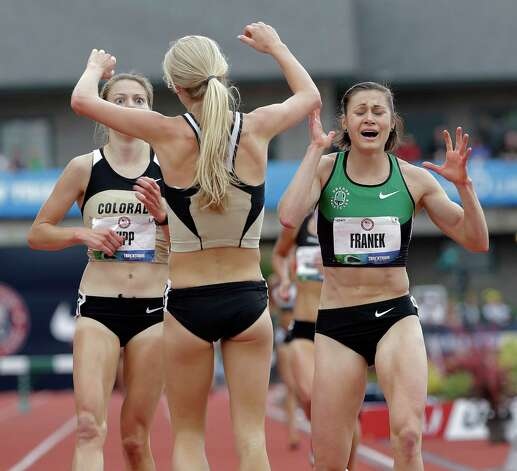 Shalaya Kipp, left, Bridget Franek, right, and Emma Coburn celebrate advancing to the Olympics after finishing the women's 3000 meter steeplechase at the U.S. Olympic Track and Field Trials Friday, June 29, 2012, in Eugene, Ore.(AP Photo/Eric Gay) Photo: Associated Press