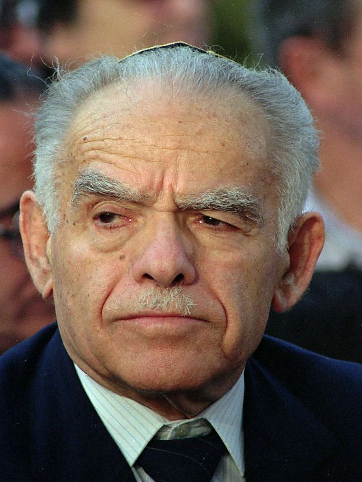 """FILE- This his May, 1991 file photo shows former Israeli Prime Minister Yitzhak Shamir in Jerusalem. Israeli media are reporting that former Prime Minister Yitzhak Shamir has died. He was 96. Israeli Prime Minister Benjamin Netnayhau mourned Shamir's death Saturday, saying in a statement that Shamir """"led Israel with a deep loyalty to the nation.""""(AP Photo/File/Nati Harnick)"""