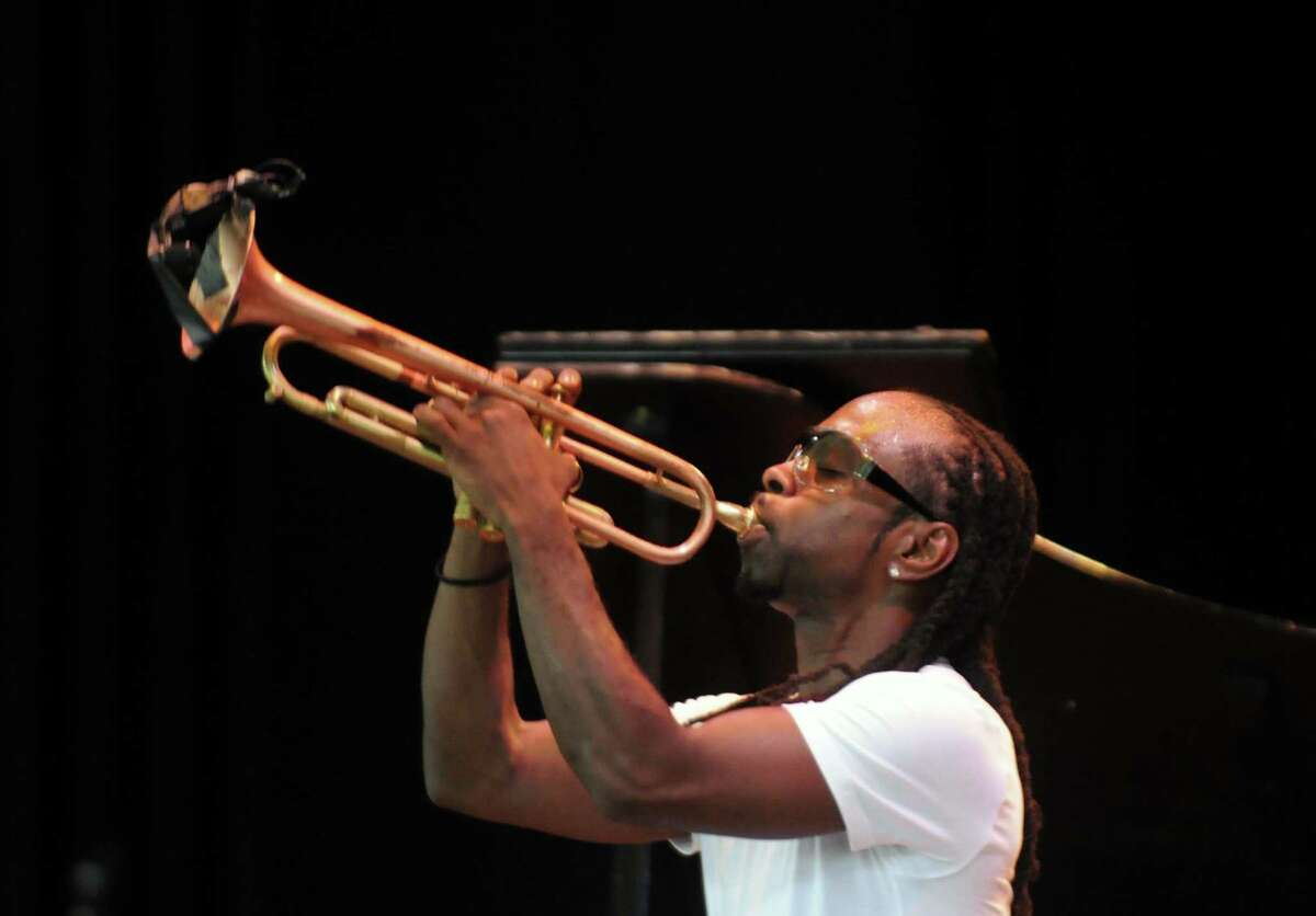 Trumpeter Mario Abney plays with his group The Abney Effect on the main stage during the 35th Freihofer's Saratoga Jazz Festival at SPAC in Saratoga Springs N.Y. Saturday June 30, 2012. (Michael P. Farrell/Times Union)