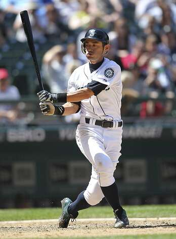 SEATTLE, WA - JUNE 27:  Ichiro Suzuki #51 of the Seattle Mariners strikes out to end the game against the Oakland Athletics at Safeco Field on June 27, 2012 in Seattle, Washington. The Athletics defeated the Mariners 2-1. (Photo by Otto Greule Jr/Getty Images) Photo: Otto Greule Jr, Getty Images
