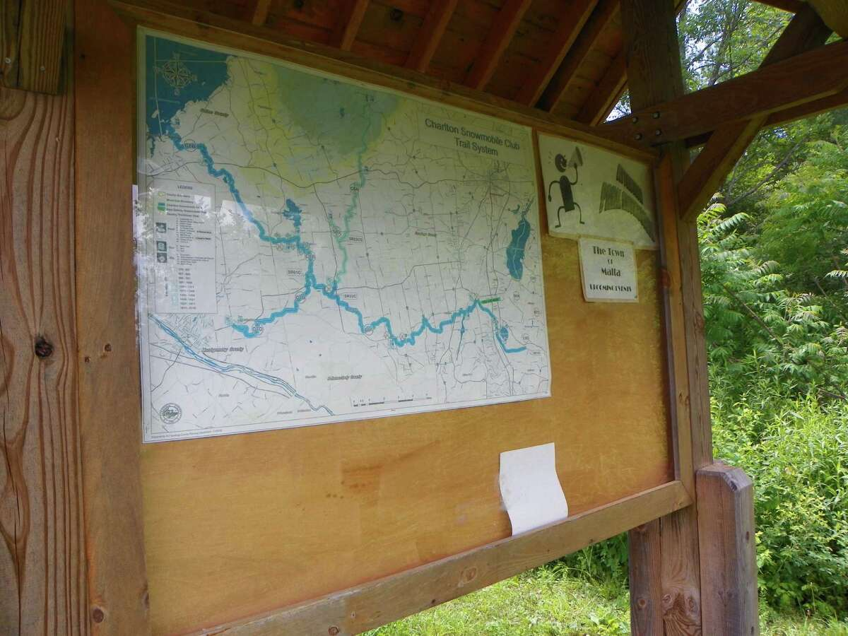 A map of the Zim Smith Trail is displayed at Shenantaha Creek Park in Malta. (Jackson Wang/Special to Times Union)