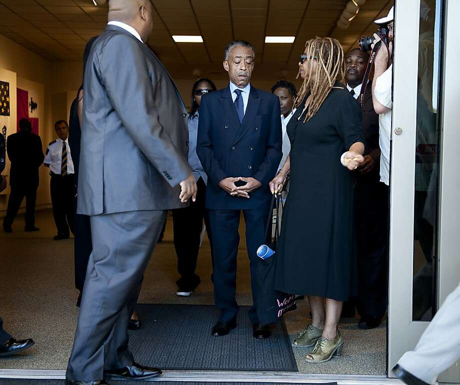 The Rev. Al Sharpton arrives at the public memorial service for Rodney King at Forest Lawn-Hollywood Hills in Los Angeles on Saturday, June 30, 2012. King passed away earlier this month at 47. (AP Photo/Grant Hindsley) Photo: Grant Hindsley, Associated Press