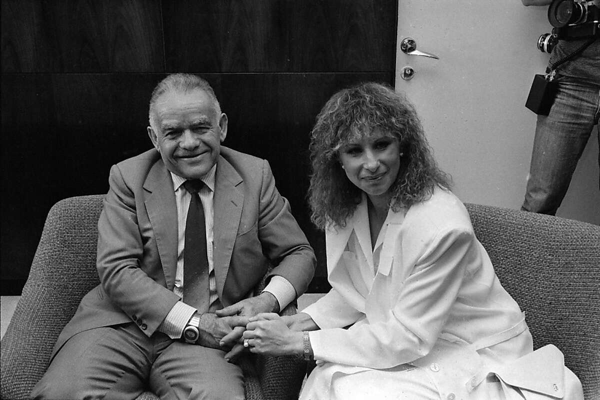 FILE - In this April 3, 1984 file photo, Barbra Streisand, at right, meets with Israeli Prime Minister Yitzhak Shamir in his office in Jerusalem. Former Israeli Prime Minister Yitzhak Shamir, who clung throughout his life to the belief that Israel should hang on to territory and never trust an Arab regime, has died. He was 96 years old. Israeli media said he died at a nursing home in Herzliya Saturday, June 30, 2012, while Israeli Prime Minister Benjamin Netanyahu issued a statement mourning Shamir's death. (AP Photo/Max Nash, File)