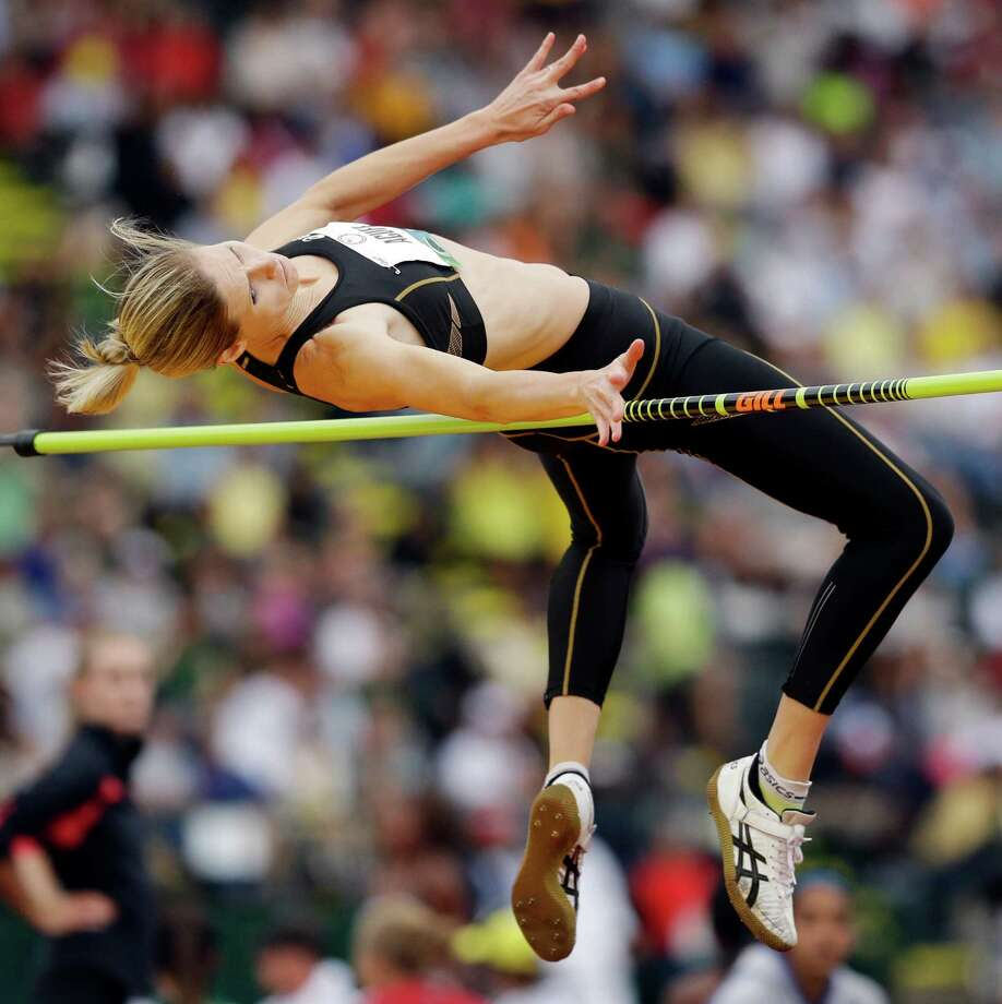 Amy Acuff competes in the women s high jump qualifying round at the U.S. Olympic Track and Field Trials Thursday, June 28, 2012, in Eugene, Ore. (AP Photo/Marcio Jose Sanchez) Photo: AP, STF / AP2012