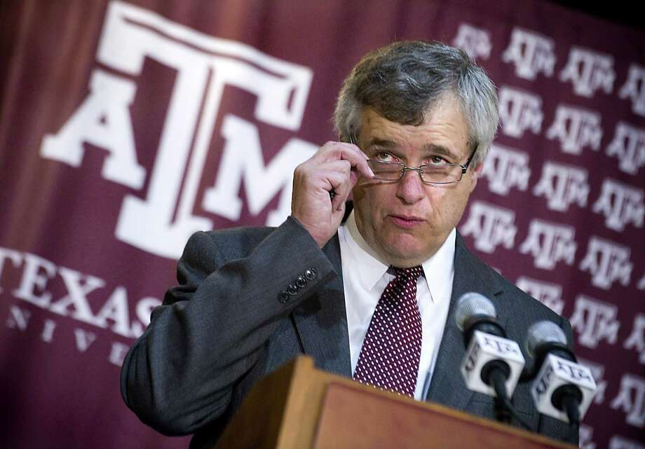 Eric Hyman addresses the media after being introduced as the new athletic director at Texas A&M University during a news conference, Saturday, June 30, 2012, in College Station, Texas. (AP Photo/Bryan-College Station Eagle, Stuart Villanueva) Photo: Stuart Villanueva / Bryan-College Station Eagle