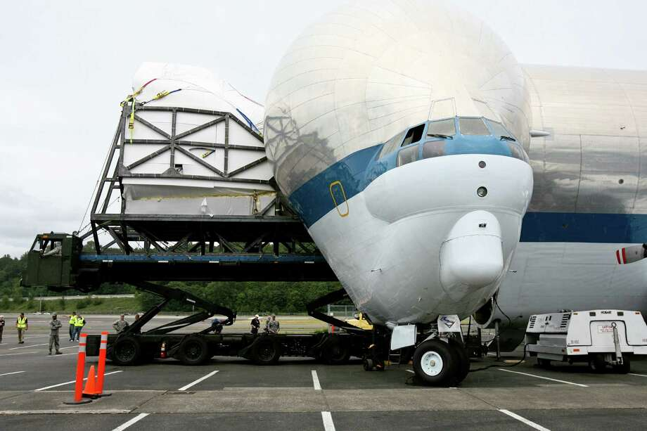 The nose of NASA's Super Guppy aircraft can open more than 200 degrees. Photo: LINDSEY WASSON / SEATTLEPI.COM