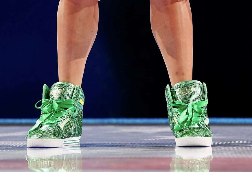 A detail of sneakers worn by Ryan Lochte during the medal ceremony for the Men's 200 m Backstroke du