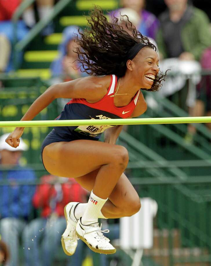 Brigetta Barrett reacts after making her height in the women's high jump final at the U.S. Olympic Track and Field Trials Saturday, June 30, 2012, in Eugene, Ore. Photo: Charlie Riedel, Associated Press / AP