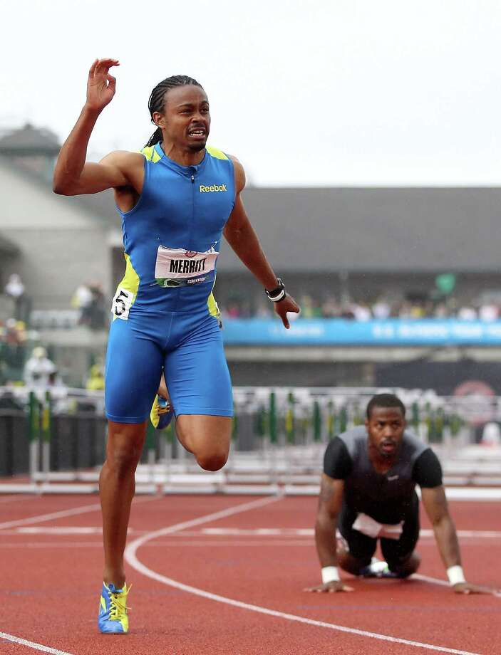 Aries Merritt reacts after winning the Men's 110 Meter Hurdles Final on day nine of the U.S. Olympic Track & Field Team Trials at the Hayward Field on June 30, 2012 in Eugene, Ore. Photo: Christian Petersen, Getty Images / 2012 Getty Images