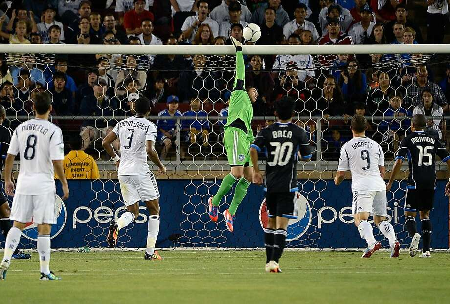 PALO ALTO, CA - JUNE 30:  Goal Keeper David Bingham #1 of the San Jose Earthquakes leaps to make a save in the second half against the Los Angeles Galaxy at Stanford Stadium on June 30, 2012 in Palo Alto, California. The Earthquakes won the game 4-3. (Photo by Thearon W. Henderson/Getty Images) Photo: Thearon W. Henderson, Getty Images