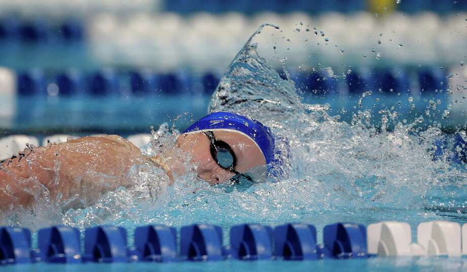 Kathleen Ledecky swims in the women's 800-meter freestyle preliminaries at the U.S. Olympic swimming trials on Saturday, June 30, 2012, in Omaha, Neb. (AP Photo/Mark Humphrey) Photo: Associated Press